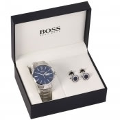 Product Image for BOSS HUGO BOSS Watch Cufflinks Gift Set Silver