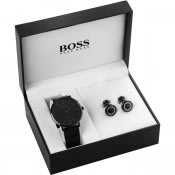 Product Image for BOSS HUGO BOSS Watch Cufflinks Gift Set Black