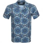 Product Image for Les Deux Short Sleeved Floral Shirt Navy