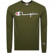 Product Image for Champion Crew Neck Long Sleeve Logo T Shirt Green