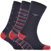 Product Image for Emporio Armani 3 Pack Sock Gift Set Navy