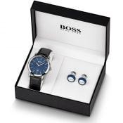Product Image for BOSS HUGO BOSS Watch Cufflinks Gift Set Silver