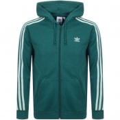 Product Image for adidas Originals 3 Stripes Full Zip Hoodie Green