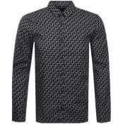 Product Image for HUGO Long Sleeved Ero3 Logo Shirt Black