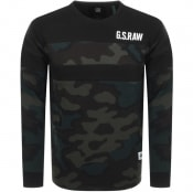 Product Image for G Star Raw Logo Block Crew Neck Sweatshirt Black