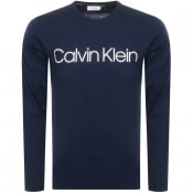 Product Image for Calvin Klein Long Sleeved Logo T Shirt Navy