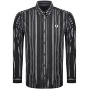 Product Image for Fred Perry Long Sleeved Stripe Shirt Black