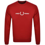 Product Image for Fred Perry Crew Neck Logo Sweatshirt Red