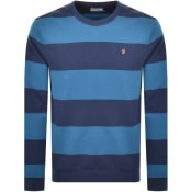 Product Image for Farah Vintage Barnes Stripe Sweatshirt Blue
