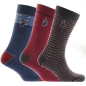 Product Image for Luke 1977 Three Pack Bovey Gift Set Socks Burgundy