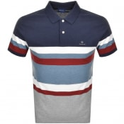 Product Image for Gant Bold Stripe Rugger Polo T Shirt Navy