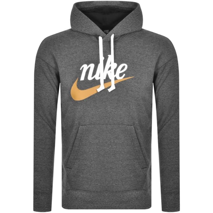 nike swoosh logo hoodie grey