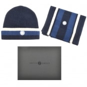 Product Image for Pretty Green Beanie Hat And Scarf Gift Set Navy