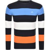 Product Image for Gant Barstripe Cotton Pique Jumper Navy