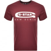Product Image for G Star Raw Logo Slim Fit T Shirt Burgundy