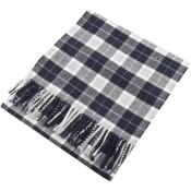 Product Image for Gant Twill Checked Wool Scarf Navy