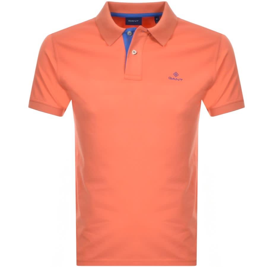 premium urval Storbritannien grossist online Gant Contrast Collar Rugger Polo T Shirt Orange | Mainline Menswear Denmark