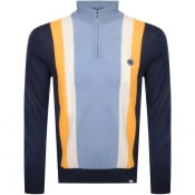Product Image for Pretty Green Half Zip Stripe Knit Jumper Navy