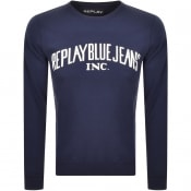 Product Image for Replay Crew Neck Logo Sweatshirt Navy
