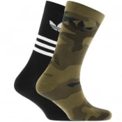Product Image for adidas Originals Two Pack Camo Crew Socks Black