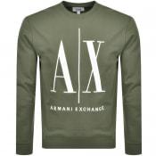 Product Image for Armani Exchange Crew Neck Logo Sweatshirt Green