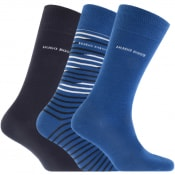 Product Image for BOSS HUGO BOSS Three Pack Socks Gift Set Blue