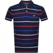 Product Image for Gant Multi Breton Stripe Polo T Shirt Navy