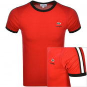 Product Image for Lacoste Sport Taped Logo T Shirt Red