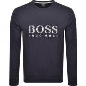 Product Image for BOSS Bodywear Logo Crew Neck Sweatshirt Navy