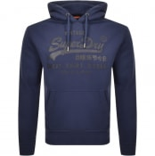 Product Image for Superdry Vintage Label Shop Bonded Hoodie Navy