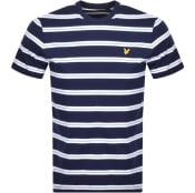 Product Image for Lyle And Scott Wide Double Stripe T Shirt Navy
