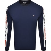 Product Image for Tommy Jeans Tape Long Sleeve T Shirt Navy