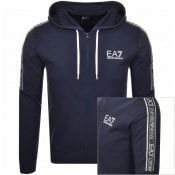 Product Image for EA7 Emporio Armani Full Zip Logo Hoodie Navy