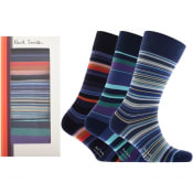 Product Image for Paul Smith Gift Set 3 Pack Stripe Socks Navy