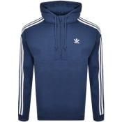 Product Image for adidas Originals 3 Stripes Half Zip Hoodie Navy