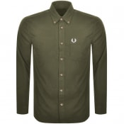 Product Image for Fred Perry Overdyed Long Sleeve Shirt Green
