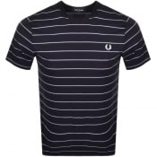 Product Image for Fred Perry Fine Stripe Logo T Shirt Navy