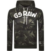 Product Image for G Star Raw Logo Camo Hoodie Green