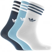 Product Image for adidas Originals Three Pack Mid Crew Socks Blue