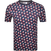Product Image for Fila Vintage Adam All Over Print T Shirt Navy