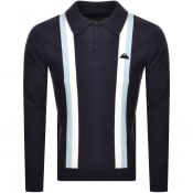 Product Image for Edwin Striped Long Sleeved Polo T Shirt Navy