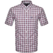 Product Image for Fred Perry Small Check Short Sleeve Shirt Burgundy