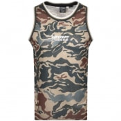 Product Image for Superdry Camo Air Logo Vest T Shirt Khaki