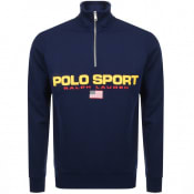 Product Image for Ralph Lauren Half Zip Logo Sweatshirt Navy