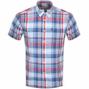 Product Image for Barbour Linen Short Sleeved Shirt Blue