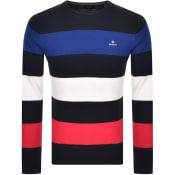 Product Image for Gant Multistripe Cotton Pique Jumper Navy