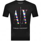 Product Image for Armani Exchange Crew Neck Rainbow T Shirt Black