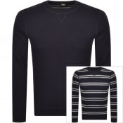 Product Image for BOSS Mateo Reversible Knit Jumper Navy