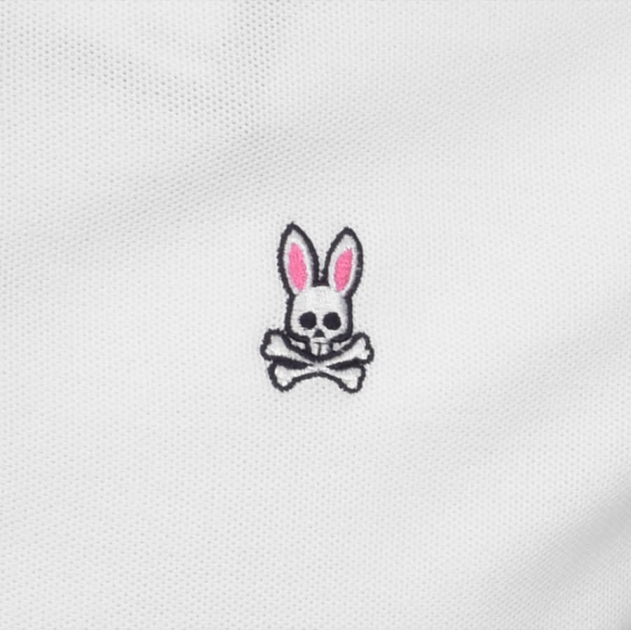 PSYCHO BUNNY Cottons TENBY POLO T SHIRT WHITE
