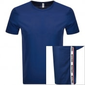 Product Image for Moschino Taped Logo Short Sleeved T Shirt Navy